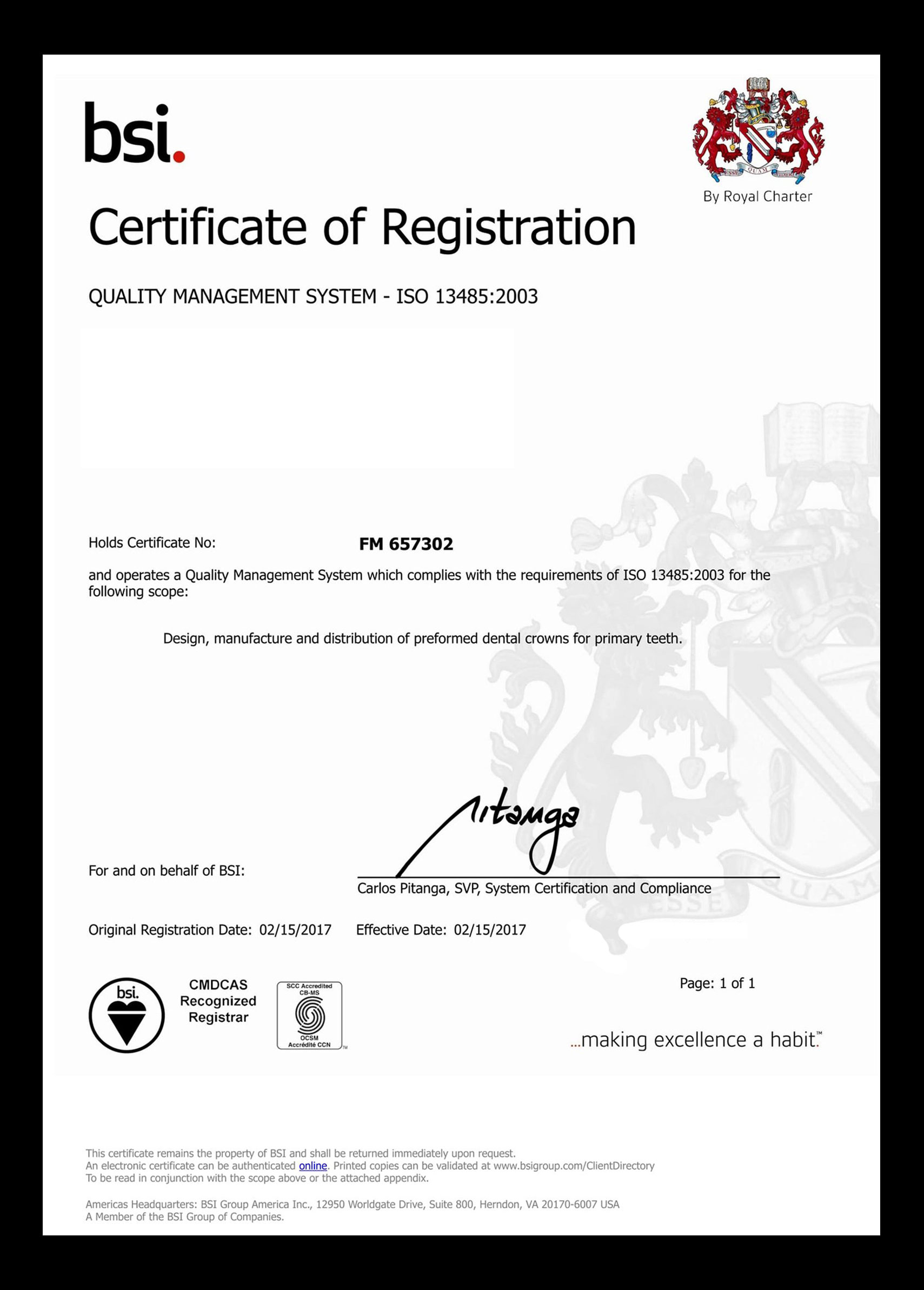 Quality ISO certificate